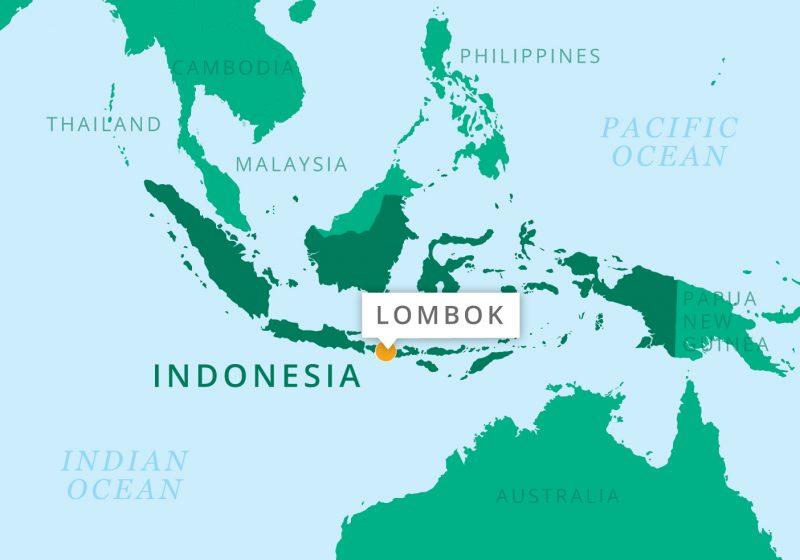 Karte Lombok, Indonesien